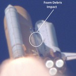 At 81.9 seconds after launch of STS-107, a chunk of foam from the External Tank dislodged and struck the leading edge of Challenger's left wing like an exploding snowball. The accident investigation team estimated the chunk of foam to be traveling between 400 and 600 mph relative to the orbiter. This impact breached the wing and doomed Columbia. (Courtesy of NASA)